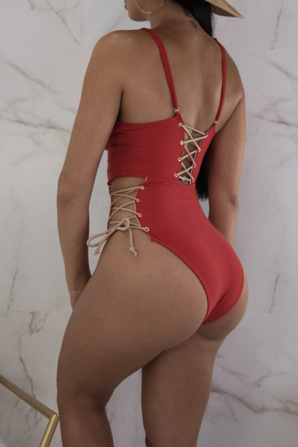 Lovely Chic Lace-up Red One-piece Swimwear