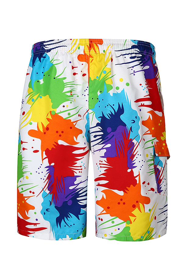 Lovely Casual Mid Waist Drawstring Printing Cotton Blends Shorts