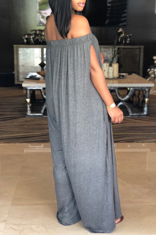 LovelyCasual Dew Shoulder Grey Cotton Blends One-piece Jumpsuit