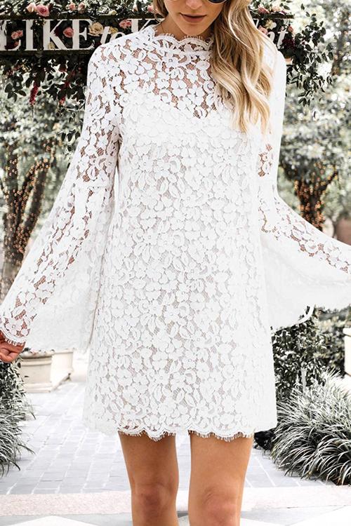 Lovely Fashion Mandarin Collar Hollow-out White Lace Mini Dress