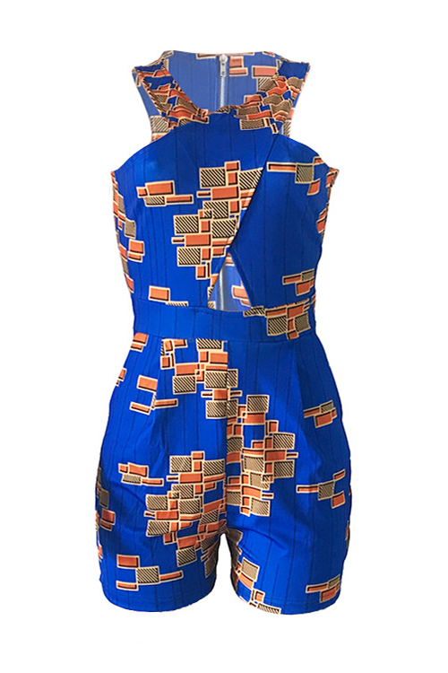 Lovely Fashion V Neck Printing Blue Polyester One-piece Short Jumpsuits