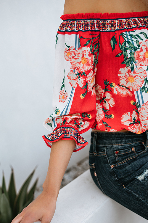 Lovely Pretty Bateau Neck Floral Printed Red Rayon Shirts