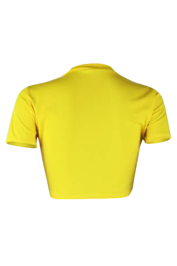 LovelyStreet Round Neck Letter Printed Yellow Polyester T-shirt