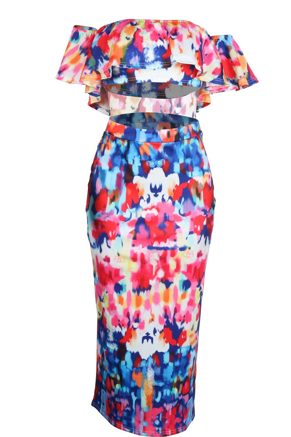 LovelyTrendy Bateau Neck Flounce Printing Polyester Two-piece Skirt Set
