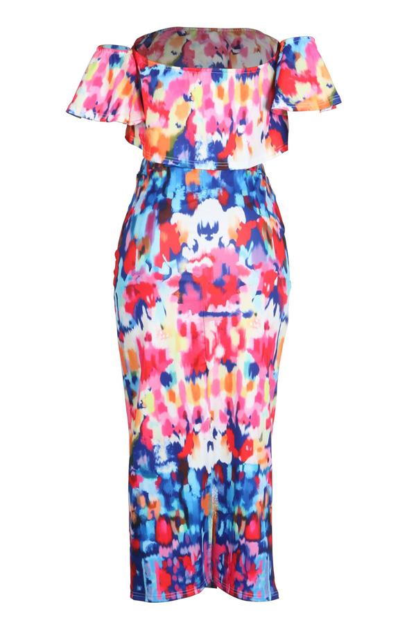 LovelyTrendy Bateau Neck Flounce Printing Polyester Two-piece Skirt Set