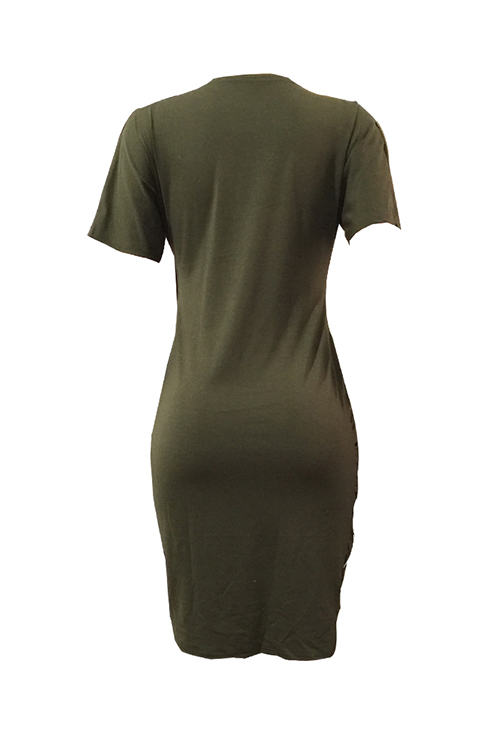LovelyCasual Round Neck Irregular Army Green Polyester Mini Dress
