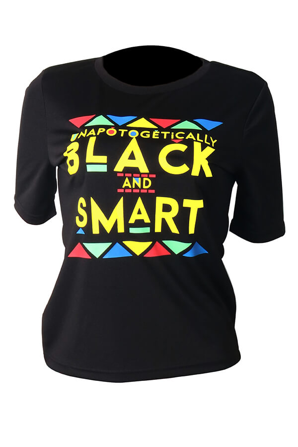 Lovely Casual Round Neck Letter Printed Black Polyester T-shirt