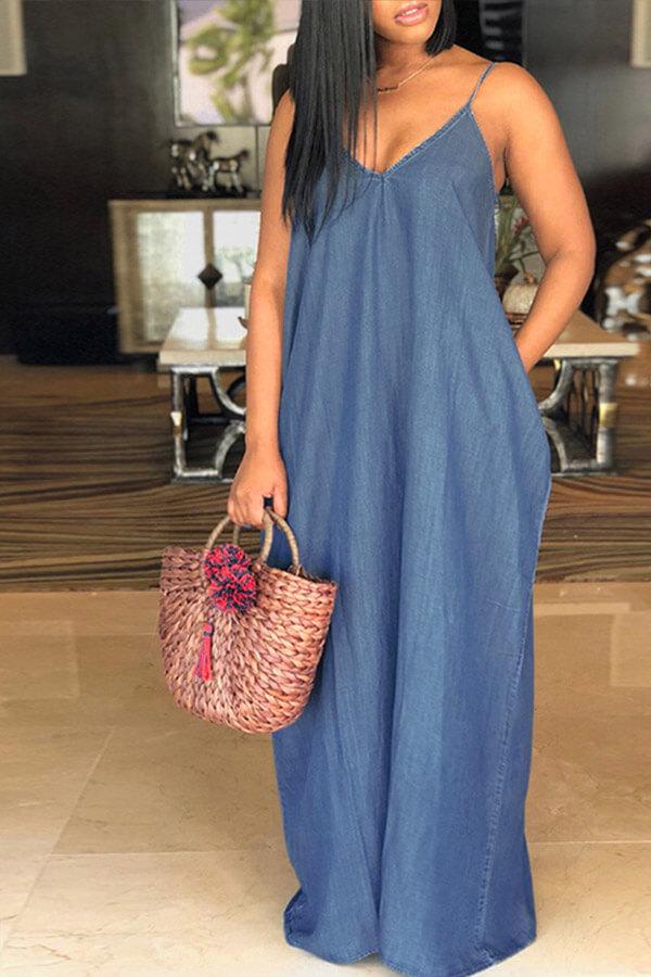 Lovely Fashion V Neck Blue Denim Floor Length Dress