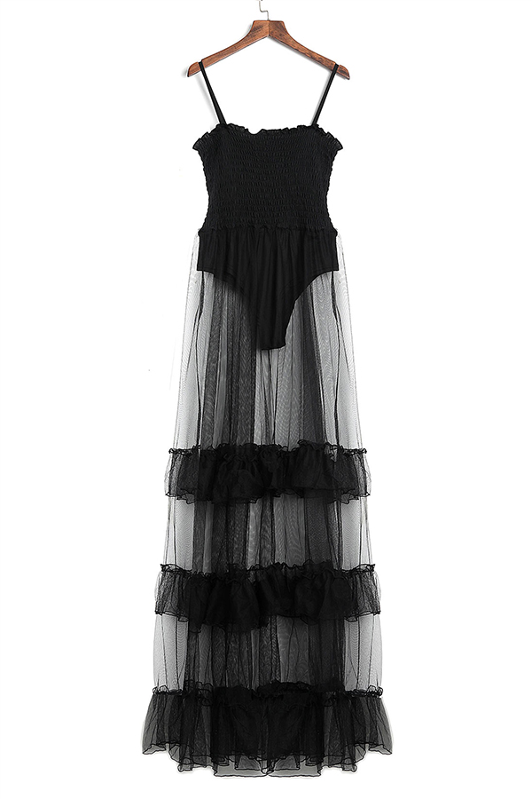 LovelyTrendy Spaghetti Strap Sleeveless See-Through Flounce Black Cotton Blend Floor Length Dress