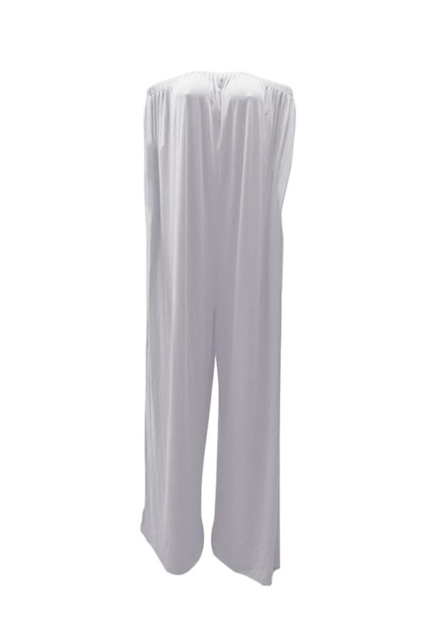 Lovely Casual Dew Shoulder White Cotton Blends One-piece Jumpsuit