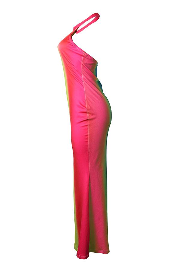 LovelyFashion Round Neck Gradient Striped Polyester Floor Length Dress