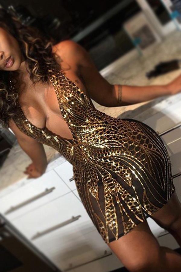 LovelyGauze Sexy V Neck Sleeveless Sheath Mini Dresses