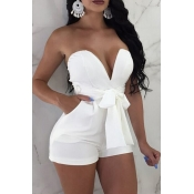 Lovely Sexy V Neck Backless White Polyester One-piece Jumpsuits