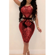Lovely Sexy Round Neck Hollow-out Sequins Decoration Red Polyester Knee Length Dress