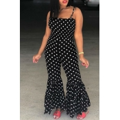 LovelyTrendy Dew Shoulder Polka Dot  Printed Tiered Ruffle Black Blending One-piece Jumpsuits