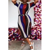 Lovely Sexy Round Neck Striped Hollow-out Blue Blending Mid Calf Dress(Without Belt)