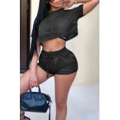 Lovely Casual Round Neck See-Through Black Polyester Two-piece Shorts Set(Without Subcoating)
