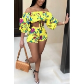 Lovely Bohemian Flounce Printed Yellow Polyester Two-piece Shorts Set
