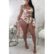LovelySexy Printed Hollow-out White Polyester Thre