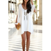 Lovely Fashion V Neck Cuff Split White Chiffon Min