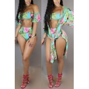 LovelySexy Printed Green Polyester Two-piece Swimwear(Contain Shawl)