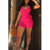 Lovely Sexy V Neck Rose Red Polyester One-piece Short Jumpsuits