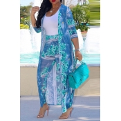 LovelyBlue Polyester Pants Print O neck Long Sleeve Bohemian Two Pieces