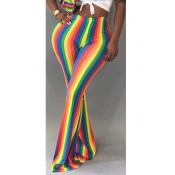 LovelyTrendy Hight Waist Colorful Striped Polyeste