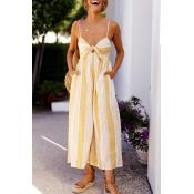 Lovely Street V Neck Yellow Striped Polyester One-