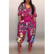 Lovely Euramerican Cartoon Printing Rose Red  One-piece Jumpsuits