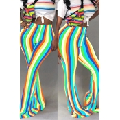 Lovely Trendy Hight Waist Colorful Striped Blue Po