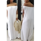 Lovely Casual Dew Shoulder White Cotton Blends One-piece Jumpsuit