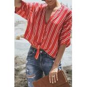 Lovely Casual V Neck Striped Printed Red Blending