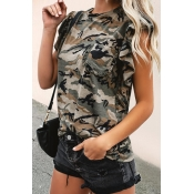 Lovely Fashion Round Neck Camouflage Polyester T-s