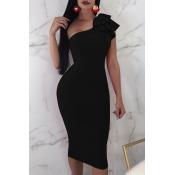 Lovely Formal Show A Shoulder Ruffle Design Black