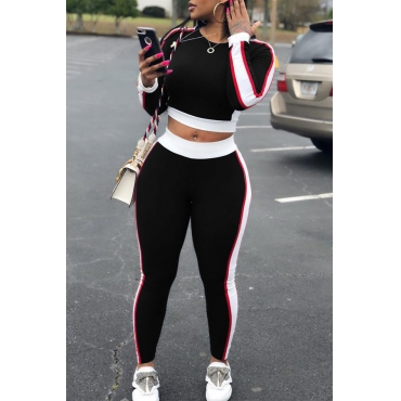 Lovely Leisure Round Neck Patchwork Black Polyester Two-piece Pants Set