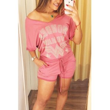 Lovely  Fashion V Neck Hot Drilling Decorative Pink Cotton Blends Two-piece Shorts Set