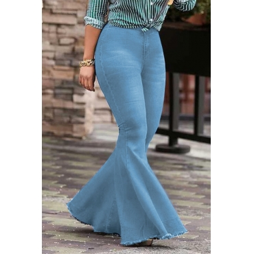 Lovely Trendy High Waist Flared Baby Blue Denim Zipped Jeans