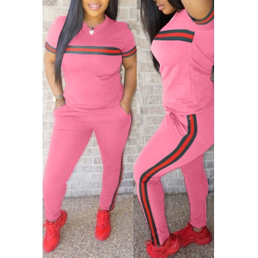 LovelyPink Blending Pants Plain O neck Short Sleeve Casual Two Pieces