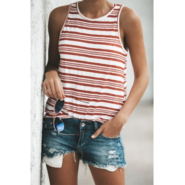 Lovely Casual Round Neck Red Striped Blending Tank Top