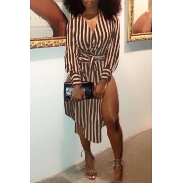Lovely Fashion V Neck Striped Side Slit Brown Cotton Mid Calf Dress(With Belt)