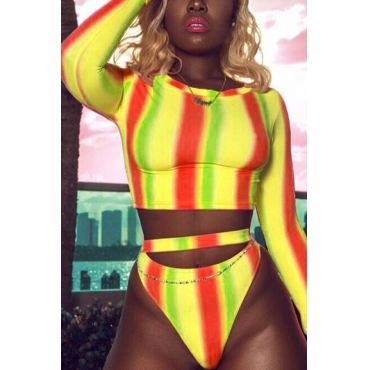 Lovely Pretty Round Neck Long Sleeves Striped Yellow Polyester Two-piece Swimwears
