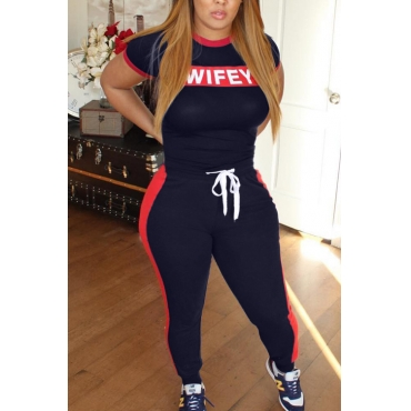Lovely Casual Letter Printed Navy Blue Two-piece Pants Set