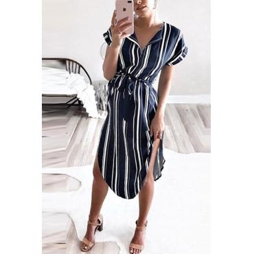 Lovely Trendy Striped Asymmetrical Blue Polyester Mid Calf Dress