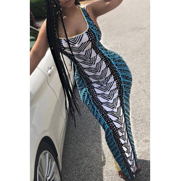Lovely Stylish U Neck Striped Fold Green Milk Fiber Floor Length Dress