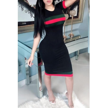 LovelyCasual Round Neck Short Sleeves Striped Black Polyester Sheath Knee Length Dress
