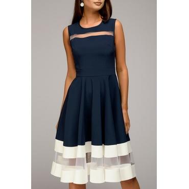 Lovely Fashion Round Neck Net Yarn Splicing Dark Blue Polyester Knee Length Dress