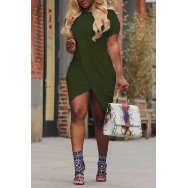 Lovely Casual Round Neck Irregular Army Green Polyester Mini Dress