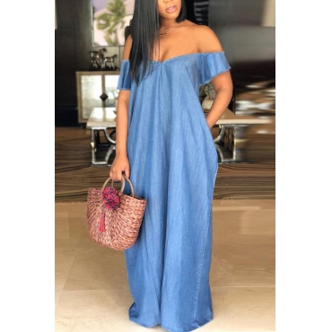 LovelyCasual Bateau Neck Baby Blue Denim Floor Length Dress