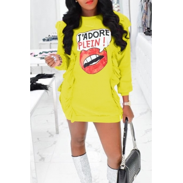 Lovely Casual Round Neck Printing Flounce Yellow Twilled Satin Mini Dress